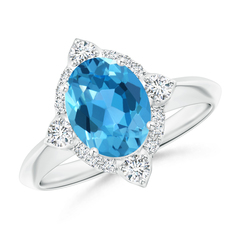 Oval Swiss Blue Topaz Compass Ring with Diamond Halo