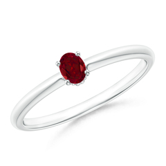 Classic Solitaire Oval Garnet Promise Ring