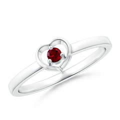 Floating Round Garnet Open Heart Promise Ring