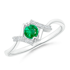 Solitaire Emerald Bypass Promise Ring with Diamond Accents