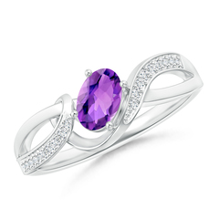 Solitaire Oval Amethyst Twisted Ribbon Ring with Pave Diamond Accents