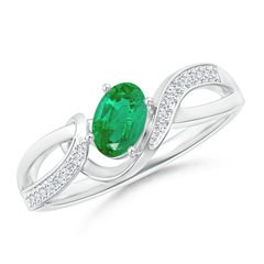 Solitaire Oval Emerald Twisted Ribbon Ring with Pave Diamond Accents