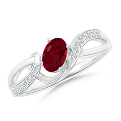 Solitaire Oval Garnet Twisted Ribbon Ring with Pave Diamond Accents