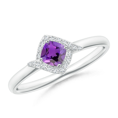 Cushion Amethyst and Diamond Halo Promise Ring