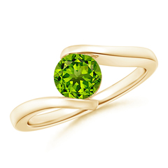 Bar-Set Solitaire Round Peridot Bypass Ring