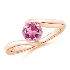 Bar-Set Solitaire Round Pink Tourmaline Bypass Ring