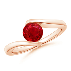 Bar-Set Solitaire Round Ruby Bypass Ring