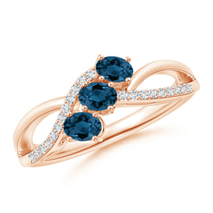 Oval London Blue Topaz Three Stone Bypass Ring with Diamonds