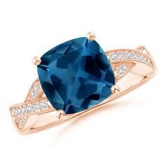 Cushion London Blue Topaz Criss Cross Ring with Diamonds