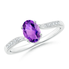 Solitaire Oval Amethyst Bypass Ring with Pave Diamond Accents
