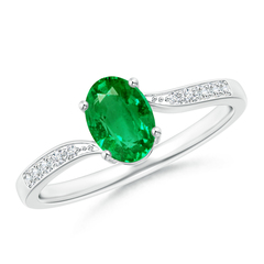 Solitaire Oval Emerald Bypass Ring with Pave Diamond Accents