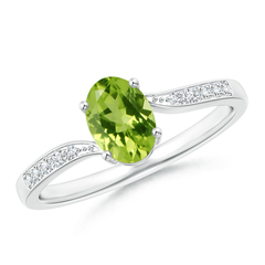 Solitaire Oval Peridot Bypass Ring with Pave Diamond Accents