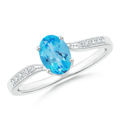 Solitaire Oval Swiss Blue Topaz Bypass Ring with Pave Diamonds