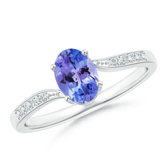 Solitaire Oval Tanzanite Bypass Ring with Pave Diamond Accents