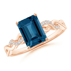 Emerald Cut London Blue Topaz Infinity Twist Ring