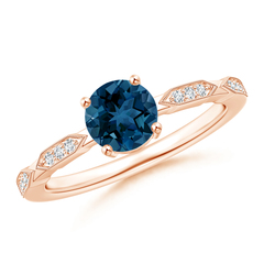 London Blue Topaz Solitaire Ring with Diamond Accents