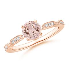 Classic Round Morganite Solitaire Ring with Quad Diamond Accents