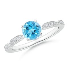 Classic Swiss Blue Topaz Solitaire Ring with Hexagon Accents