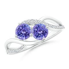 Round Tanzanite Two Stone Bypass Ring with Diamonds