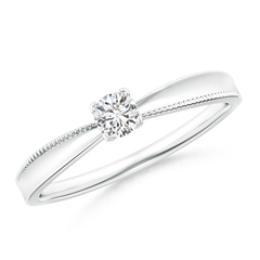 V-Prong Set Solitaire Round Diamond Concave Ring