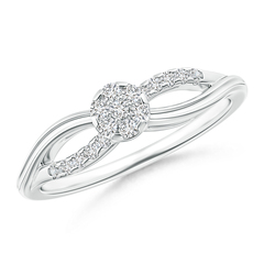 Criss-Cross Diamond Floral Cluster Engagement Ring