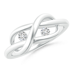 Two Stone Diamond Infinity Knot Ring