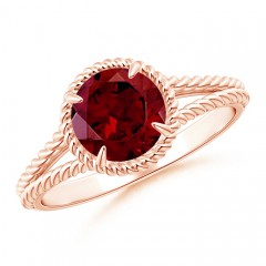 Claw-Set Garnet Twisted Rope Split Shank Ring
