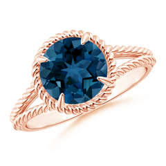 Claw Set London Blue Topaz Twisted Rope Split Shank Ring