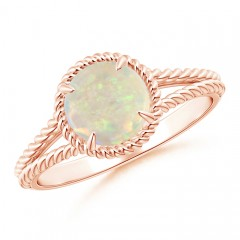 Claw-Set Opal Twisted Rope Split Shank Ring