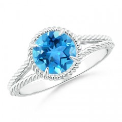 Claw-Set Swiss Blue Topaz Twisted Rope Split Shank Ring