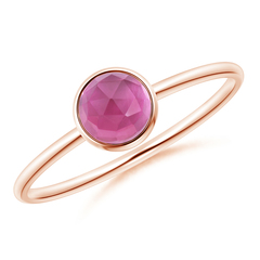 Bezel Set Round Pink Tourmaline Stackable Ring