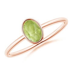 Classic Oval Peridot Bezel Set Ring