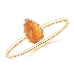 Pear-Shaped Citrine Solitaire Ring