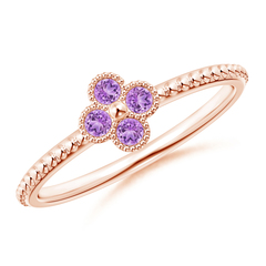 Amethyst Four Leaf Clover Ring with Beaded Shank