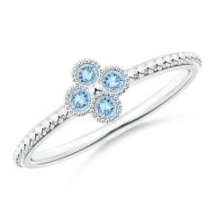 Aquamarine Four Leaf Clover Ring with Beaded Shank