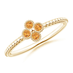 Citrine Four Leaf Clover Ring with Beaded Shank