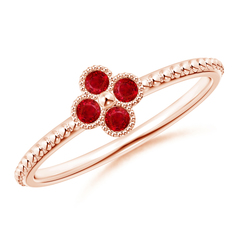 Ruby Four Leaf Clover Ring with Beaded Shank