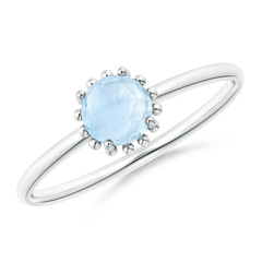 Solitaire Aquamarine Ring with Beaded Halo