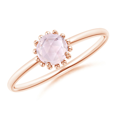 Solitaire Morganite Ring with Beaded Halo