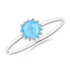 Solitaire Swiss Blue Topaz Ring with Beaded Halo