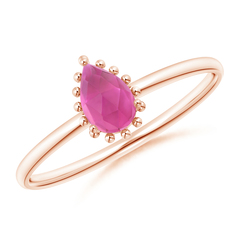 Pear-Shaped Pink Tourmaline Beaded Halo Ring