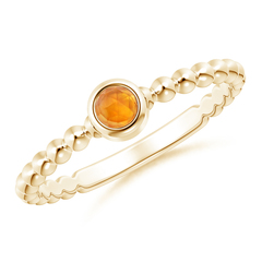 Bezel Set Citrine Stackable Ring with Beaded Shank
