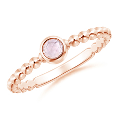 Bezel Set Morganite Stackable Ring with Beaded Shank