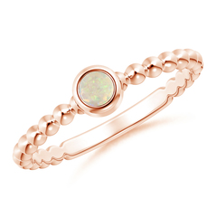 Bezel Set Opal Stackable Ring with Beaded Shank