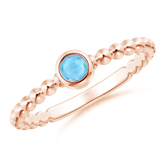 Bezel Set Swiss Blue Topaz Stackable Ring with Beaded Shank