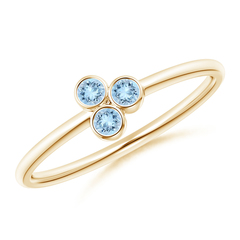 Bezel Set Aquamarine Trio Cluster Stackable Ring