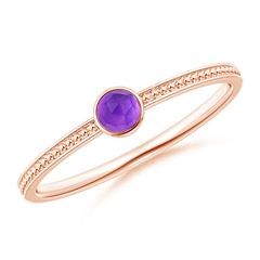 Bezel Set Amethyst Ring with Beaded Groove Shank