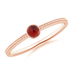 Bezel Set Garnet Ring with Beaded Groove Shank