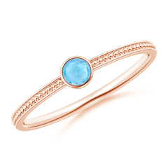 Bezel Set Swiss Blue Topaz Ring with Beaded Groove Shank