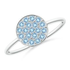 Pave Set Round Aquamarine Cluster Disc Ring